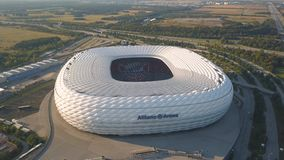 Aerial view of Allianz Arena in Munich. Germany, Munich, August 2018 - Aerial view of football stadium Allianz Arena in Munich stock video footage