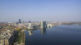 Aerial view Almere. Aerial view on the center of Almere, Netherlands stock photos