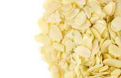 Aerial view of almond flakes with white copyspace Stock Photo