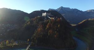 Aerial view of alpine castle Hohenwerfen near stock video