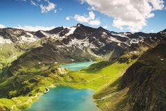 Aerial view of alpine lakes, Turin, Italy Royalty Free Stock Photography