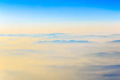 Aerial view of Alpine Mountains Royalty Free Stock Image