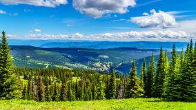 Aerial view of the alpine village of Sun Peaks in the Shuswap Highlands in British Columbia, Canada. Aerial view of the alpine village of Sun Peaks from a hiking royalty free stock photo