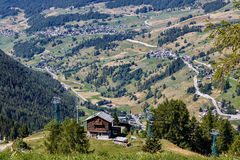 Aerial view of alpine villages in Champoluc, Italy Stock Image