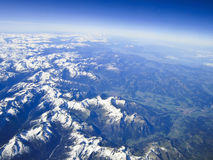 Aerial view on the  alps Royalty Free Stock Photography