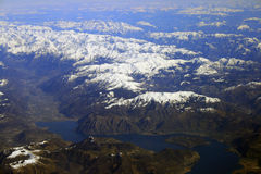 Aerial view of Alps mountains. Aerial view of snow capped Alp mountains Stock Photos