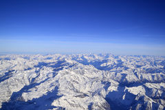 Aerial view of the Alps in winter Stock Images