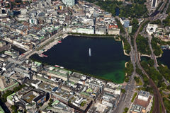 Aerial view of Alster lake at Hamburg Royalty Free Stock Images