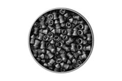 Aerial view of an aluminum can of airgun lead pellets isolated on white background with clipping path royalty free stock photo