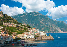 Aerial view of the Amalfi Coast with Amalfi city Stock Images