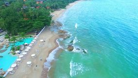 Aerial view of amazing beautiful island in. Thailand. Clear water and waves. Samui stock video