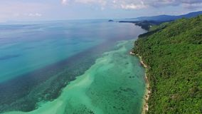 Aerial view of amazing beautiful island in. Thailand. Clear water and waves. Samui stock footage