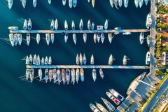 Aerial view of amazing boats at sunset in Marmaris, Turkey Stock Photo