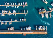 Aerial view of amazing boats at sunset. Minimalistic landscape Royalty Free Stock Image