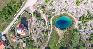 Aerial view of amazing Glavas source of Cetina river, Croatia stock video