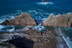 Aerial view of amazing rock formations on the Arnia beach, Spain. Aerial view of amazing rock formations on the Arnia beach, Costa Quebrada, Cantabria, Northern royalty free stock photo