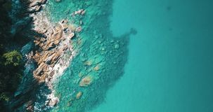 Aerial view of the amazing rocky and green coast stock video footage