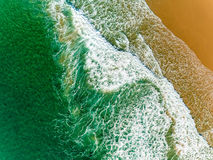 Aerial View Amazing Seascape with Small Waves on Sandy Beach Royalty Free Stock Photography