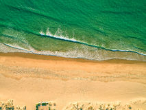 Aerial View Amazing Seascape with Small Waves on Sandy Beach Stock Photo