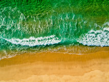 Aerial View Amazing Seascape with Small Waves on Sandy Beach Stock Image