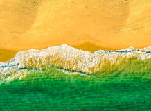 Aerial View Amazing Seascape with Small Waves on Sandy Beach Royalty Free Stock Images