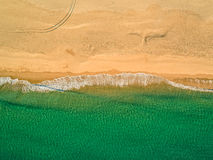 Aerial View Amazing Seascape with Small Waves on Sandy Beach Royalty Free Stock Image