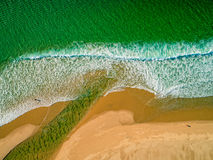 Aerial View Amazing Seascape with Small Waves on Sandy Beach Royalty Free Stock Photo