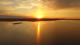 Aerial view Amazing sunset on the lake.  stock video footage