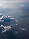 Aerial view of Amazon river. Overview of the delta of Amazon river with some clouds scattered across Royalty Free Stock Photo
