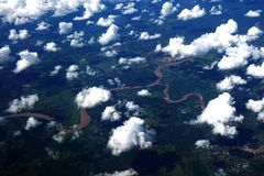 Aerial view of Amazon River, Peru Stock Photos
