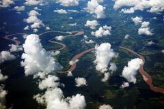 Aerial view of Amazon River, Peru Stock Photography