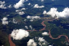 Aerial view of Amazon River, Peru Stock Images