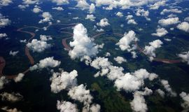 Aerial view of Amazon River, Peru Royalty Free Stock Images