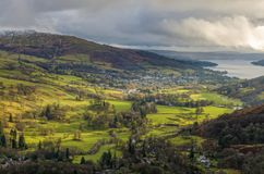 An aerial view of Ambleside from Nab Scar. In the English Lake District Stock Photography
