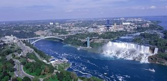Aerial view of American falls Niagara NY. View of the American Falls Niagara from top. Arial View, aerial, ny royalty free stock photo