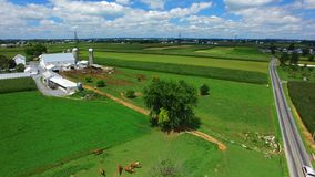 Amish Farm Lands from Above 6 stock photo