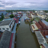 Aerial view of amphawa canal in samut songkram most popular trav. Eling destination royalty free stock image