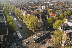 Aerial view of amsterdam royalty free stock photography