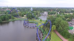 Aerial view on an amusement park stock video footage