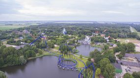 Aerial view on an Amusement Park Stock Photo
