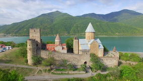 Aerial view of Ananuri fortress stock video footage