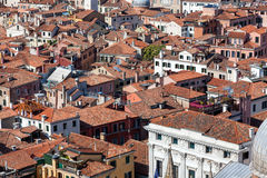 Aerial view of ancient building with red roofs in Venice, Italy Royalty Free Stock Photo