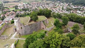 Aerial view of ancient Donaustauf Castle on the hill, Bavaria, Germany. Fly circle stock video