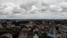 Aerial view of ancient Drohobych city, Ukraine. Aerial view of ancient Drohobych city, Western Ukraine stock video