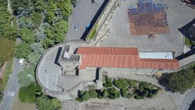 Aerial view of ancient fort wall and tower in Trieste, Italy Stock Image