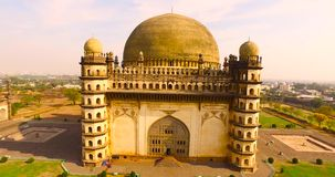 Aerial view of ancient palace in india stock footage