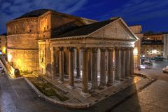 Pantheon - Rome, Italy. Aerial view of the ancient Pantheon church at dawn in Rome, Italy stock photography