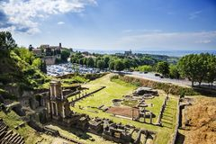 Aerial view of ancient roman amphitheatre Stock Image