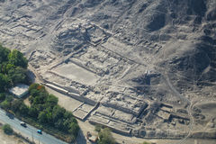 Aerial view of ancient ruins near Nasca, Peru. Royalty Free Stock Photo
