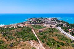 Aerial view of ancient ruins of Side town. In Turkey royalty free stock photos